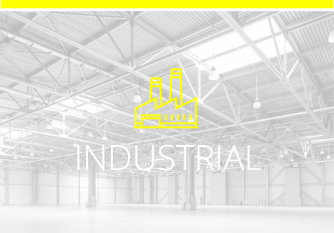 Industrial icon with industrial building image background